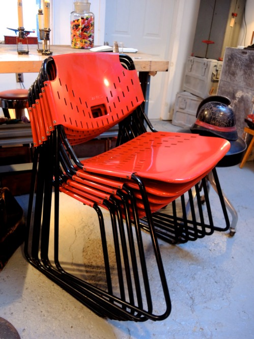 Kinetics Red Metal Stacking Chairs INabstracto