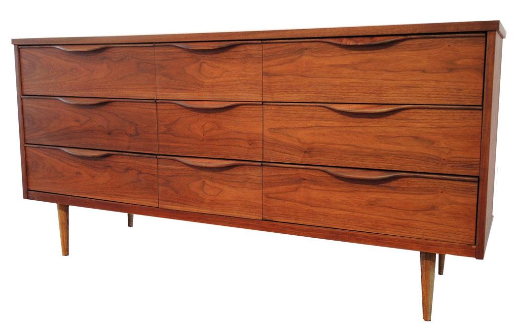 Mid Century Modern Walnut Dresser Inabstracto