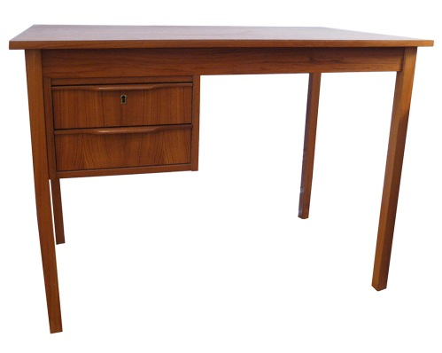 Danish Teak Desk Two Drwr_LR