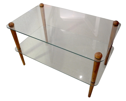 glass and teak table LR
