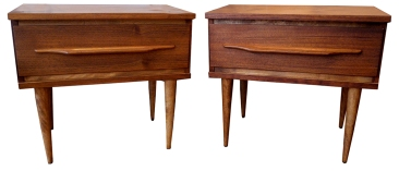 2 walnut night tables LR