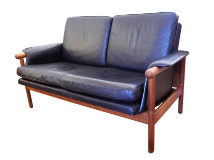 Danish Leather Love Seat