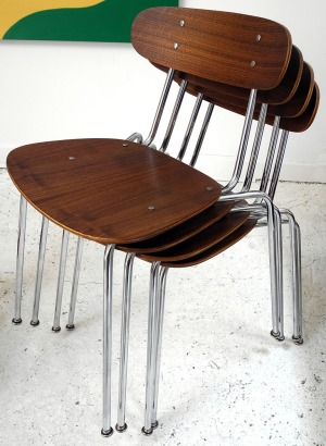 Walnut Ply Stacking Chairs