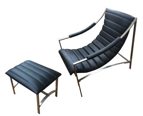 Leather_Chrome Chair Ottoman