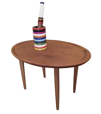oval teak side table