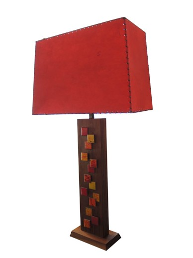 Teak and ceramic Lamp